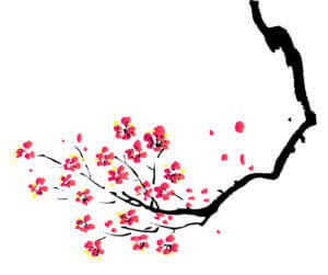 A delicate painting of a cherry tree branch with flowers represents how fragile you might feel when beginning therapy.